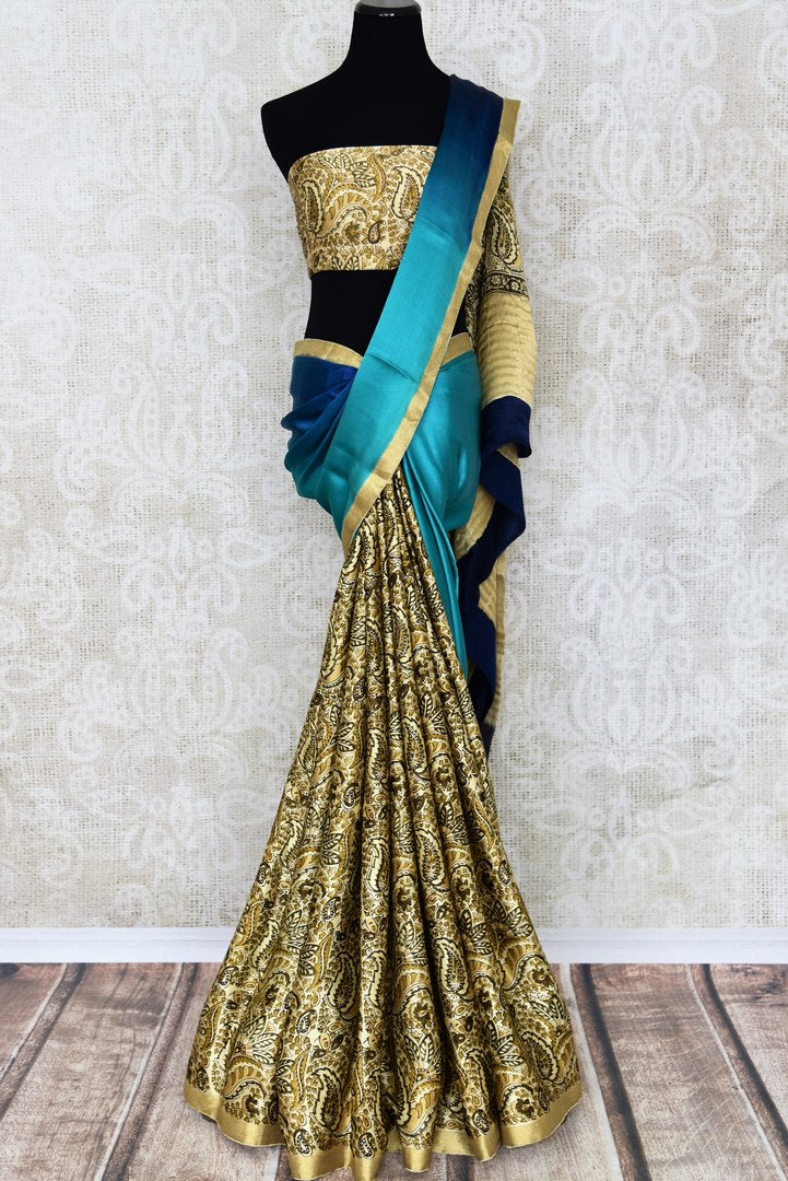 Buy half blue half printed cream crepe silk saree online in USA with zari border. Make your ethnic wardrobe rich with Indian designer sarees available at Pure Elegance exclusive clothing store in USA or shop online.-full view
