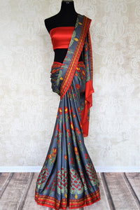 Buy grey crepe silk sari with bright floral print online in USA. Elevate your Indian style with an alluring collection of Indian designer sarees, silk sarees available at Pure Elegance Indian fashion store in USA or shop online.-full view