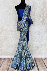 Shop blue printed crepe silk saree online in USA. Make your ethnic wardrobe rich with Indian designer sarees available at Pure Elegance exclusive clothing store in USA or shop online.-full view
