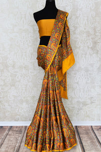 Shop brown printed crepe silk saree online in USA. Make your ethnic wardrobe rich with Indian designer saris available at Pure Elegance exclusive clothing store in USA or shop online.-full view
