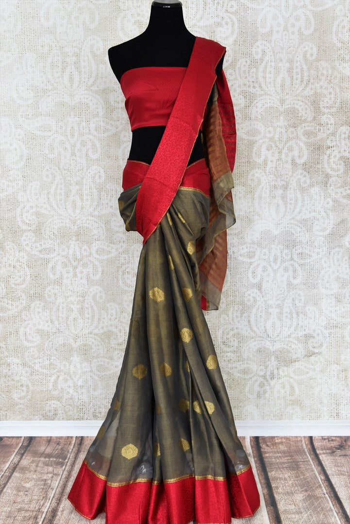 Shop grey tissue silk saree online in USA with red crepe border. Make your ethnic wardrobe rich with Indian designer saris available at Pure Elegance exclusive clothing store in USA or shop online.-full view