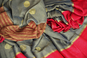 Shop grey tissue silk saree online in USA with red crepe border. Make your ethnic wardrobe rich with Indian designer saris available at Pure Elegance exclusive clothing store in USA or shop online.-details