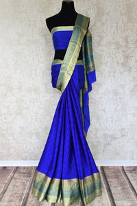 Buy blue crepe silk saree online in USA with zari weave border. Make your ethnic wardrobe rich with Indian designer silk sarees available at Pure Elegance exclusive clothing store in USA or shop online.-full view