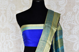 Buy blue crepe silk saree online in USA with zari weave border. Make your ethnic wardrobe rich with Indian designer silk sarees available at Pure Elegance exclusive clothing store in USA or shop online.-blouse pallu