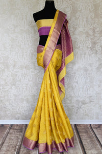 Buy yellow crepe silk sari online in USA with zari weave and buta. Make your ethnic wardrobe rich with Indian designer sarees available at Pure Elegance exclusive clothing store in USA or shop online.-full view
