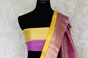Buy yellow crepe silk sari online in USA with zari weave and buta. Make your ethnic wardrobe rich with Indian designer sarees available at Pure Elegance exclusive clothing store in USA or shop online.-blouse pallu