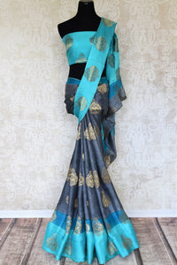 Buy alluring blue silk saree online in USA with zari weave and buta. Make your ethnic wardrobe rich with Indian designer sarees, silk sarees available at Pure Elegance exclusive clothing store in USA or shop online.-full view