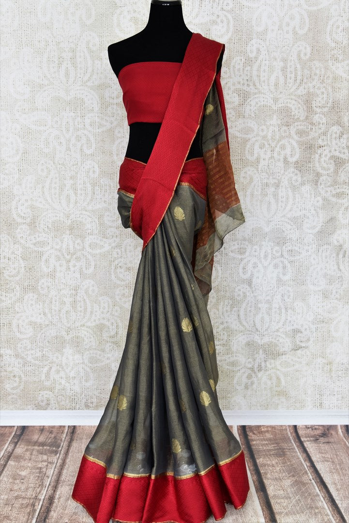 Shop dark grey tissue silk saree online in USA with red crepe border. Make your ethnic wardrobe rich with Indian designer silk saris available at Pure Elegance exclusive clothing store in USA or shop online.-full view