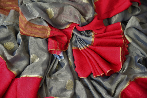 Shop dark grey tissue silk saree online in USA with red crepe border. Make your ethnic wardrobe rich with Indian designer silk saris available at Pure Elegance exclusive clothing store in USA or shop online.-details