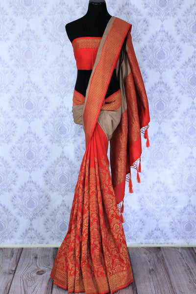 Dive into the pool of trendy designer wear with brown and red half-half muga banarsi silk sari. This uber-graceful saree features a stunning floral embroidery with a running red zari border. Shop designer sarees, georgette saris, ikkat sarees and style them with designer blouses online or visit Pure Elegance store,USA.-full view