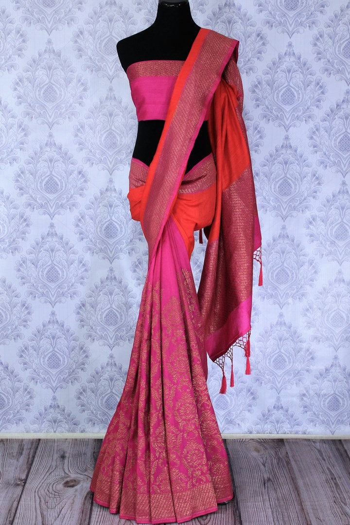 Drape this exclusively designed red and pink half-half designer muga banarsi silk saree. The intricate floral embroidery with zari detailing on border and pallu is unparalleled. Style it with a pink zari detailing blouse. Shop designer sarees, printed saris, banarsi silk saris online or visit Pure Elegance store in USA-full view