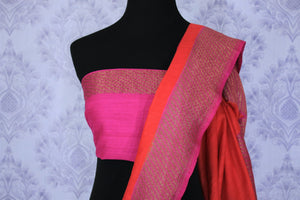 Drape this exclusively designed red and pink half-half designer muga banarsi silk saree. The intricate floral embroidery with zari detailing on border and pallu is unparalleled. Style it with a pink zari detailing blouse. Shop designer sarees, printed saris, banarsi silk saris online or visit Pure Elegance store in USA-blouse pallu