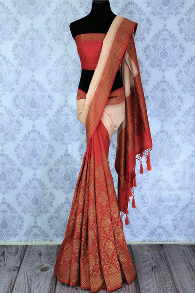 Sashay in this designer half-half muga banarsi silk sari to weddings, parties and festivities with panache. Style this red with beige signature Indian saree with a deep red embroidered blouse to strike a lasting impression. Shop designer silk sarees, printed saris, ikkat sarees online or visit Pure Elegance store in USA. -full view