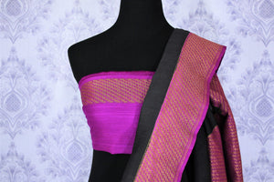 Indulge in this classic black and purple floral embroidered muga banarsi silk sari with a hint of zari work on the border and pallu. Style this designer half-half saree with a contrasting purple embroidered blouse. Shop designer silk sarees, printed sarees, ikkat saris online or visit Pure Elegance store in USA. -blouse pallu