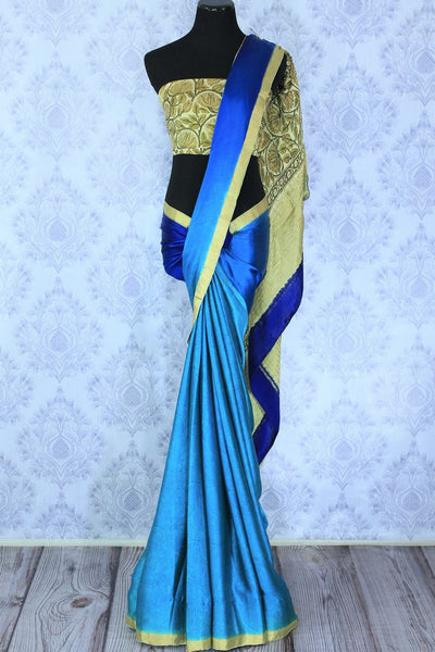 Melt them with the spring favourite blue shaded floral printed crepe silk saree. The gorgeous zari border complemented with the aesthetically pleasing hand printed white and yellow blouse. Shop kalamkari printed sarees, designer silk sarees online or visit Pure Elegance store in USA. -full view