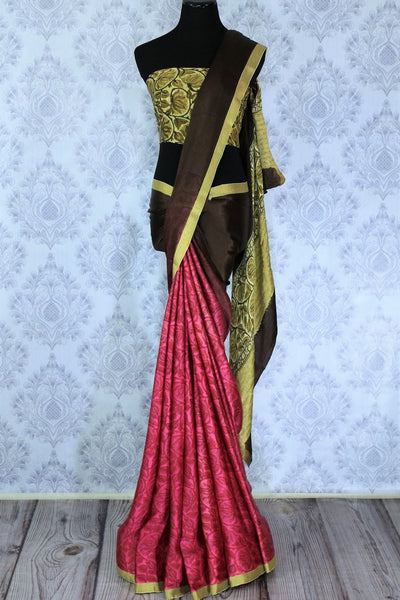 Add a pop of color to your outfit with this brown and pink half half designer crepe silk saree. The floral printed silk sari comes with a gorgeous cream printed blouse. The zari border at the bottom adds a flair of elegance. Shop handcrafted silk sarees, printed sarees online or visit Pure Elegance store in USA. -full view