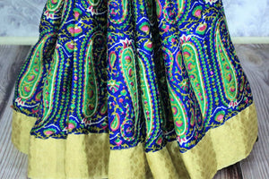 Bloom this summer in our exquisitely designed blue georgette handprinted saree. The easy breezy sari can be worn easily at work or events. It comes with a beige border and an electric blue contrasting blouse to look gorgeous. Shop such designer sarees, printed sarees, silk saris online or visit Pure Elegance store -pleats