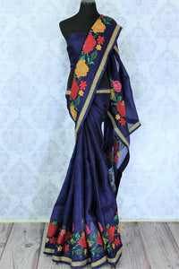 Feel the blues in this royal blue floral work organza saree. It comes with an elaborate embroidered border and is a perfect pick for parties. Style this statement sari with a plain blue blouse to fetch compliments galore. Shop handcrafted silk saris, chiffon saree, cotton saree online or visit Pure Elegance store, USA.-full view