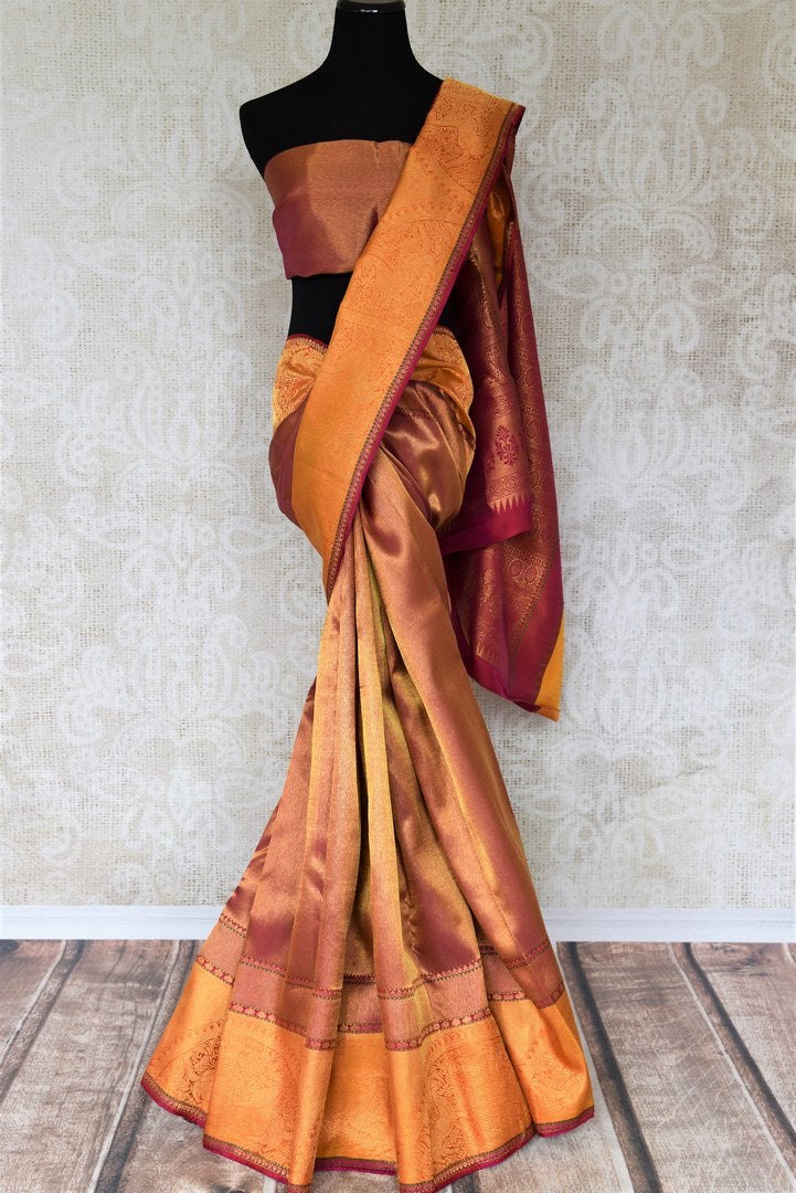 Don this gorgeous handwoven pure kanjeevaram silk sari with zari weave on the border complemented by a stunning contrasted blouse to weddings and festivities. Celebrate the season of weddings and shop handloom sarees, designer silk saris, ikkat sarees, banarsi silk sarees online or visit Pure Elegance store in USA. -full view