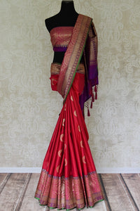 Buy pink tussar Banarasi sari online in USA with zari border and buta. Add elegance to your Indian wedding look with exquisite Indian Banarasi sarees available at Pure Elegance exclusive Indian clothing store in USA or browse through our website and shop online.-full view