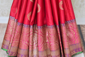 Buy pink tussar Banarasi sari online in USA with zari border and buta. Add elegance to your Indian wedding look with exquisite Indian Banarasi sarees available at Pure Elegance exclusive Indian clothing store in USA or browse through our website and shop online.-pleats