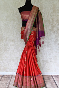 Buy bright red tussar Banarasi saree with rich zari border online in USA. Bring richness to your ethnic style with exquisite Indian sarees, traditional Banarasi sarees, silk saris from Pure Elegance Indian fashion store in USA or shop online.-full view