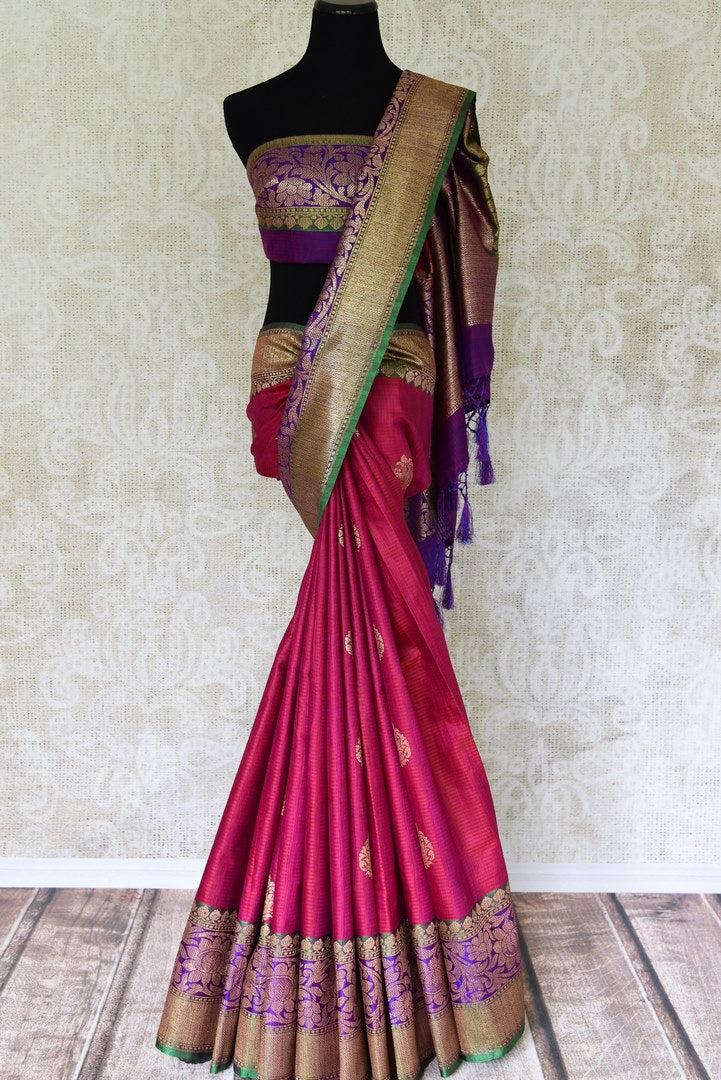 Shop alluring pink tussar Banarasi saree with rich zari border online in USA. Bring richness to your ethnic style with exquisite Indian saris, traditional Banarasi sarees, silk saris from Pure Elegance Indian fashion store in USA or shop online.-full view