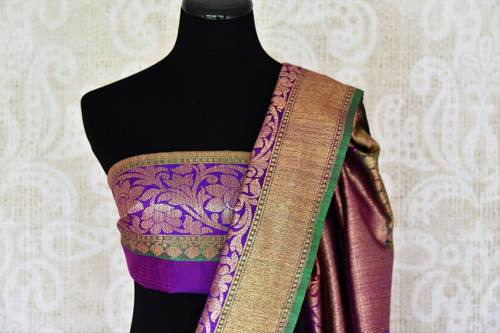 Shop alluring pink tussar Banarasi saree with rich zari border online in USA. Bring richness to your ethnic style with exquisite Indian saris, traditional Banarasi sarees, silk saris from Pure Elegance Indian fashion store in USA or shop online.-blouse pallu