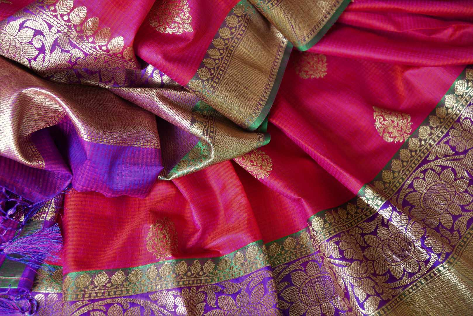 Shop alluring pink tussar Banarasi saree with rich zari border online in USA. Bring richness to your ethnic style with exquisite Indian saris, traditional Banarasi sarees, silk saris from Pure Elegance Indian fashion store in USA or shop online.-details