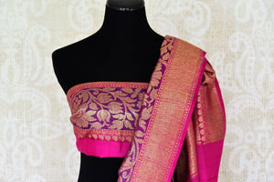 Shop orange pink tussar Banarasi sari with zari border online in USA. If you are heading to an Indian wedding and all you want is a rich traditional style then look no further than Pure Elegance Indian fashion store in USA. We have an exclusive range of Indian designer saris, traditional Banarasi sarees, silk saris and much more.-blouse pallu