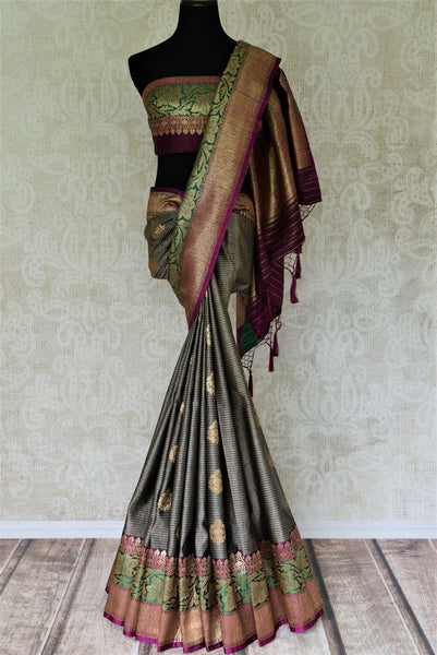Buy grey striped tussar Banarasi saree online in USA with colorful zari border and buta. Add brilliance to your Indian wedding look with traditional Indian Banarasi saris available at Pure Elegance exclusive Indian clothing store in USA or browse through our website and shop online.-full view