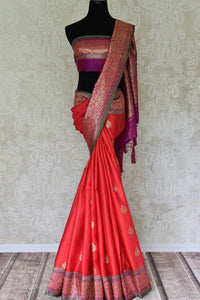 Buy gorgeous pink tussar Banarasi saree with zari border online in USA. If you are heading to an Indian wedding and all you want is a rich traditional style then look no further than Pure Elegance Indian clothing store in USA. We have an exclusive range of Indian designer saris, traditional Banarasi saris and much....-full view