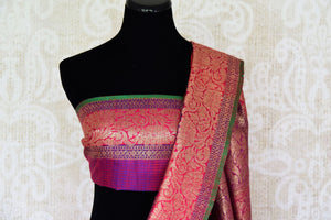 Buy gorgeous pink tussar Banarasi saree with zari border online in USA. If you are heading to an Indian wedding and all you want is a rich traditional style then look no further than Pure Elegance Indian clothing store in USA. We have an exclusive range of Indian designer saris, traditional Banarasi saris and much....-blouse pallu