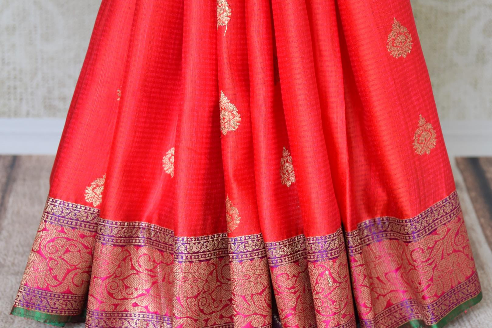 Buy gorgeous pink tussar Banarasi saree with zari border online in USA. If you are heading to an Indian wedding and all you want is a rich traditional style then look no further than Pure Elegance Indian clothing store in USA. We have an exclusive range of Indian designer saris, traditional Banarasi saris and much....-pleats