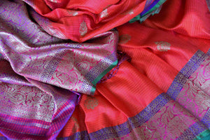 Buy gorgeous pink tussar Banarasi saree with zari border online in USA. If you are heading to an Indian wedding and all you want is a rich traditional style then look no further than Pure Elegance Indian clothing store in USA. We have an exclusive range of Indian designer saris, traditional Banarasi saris and much....-details