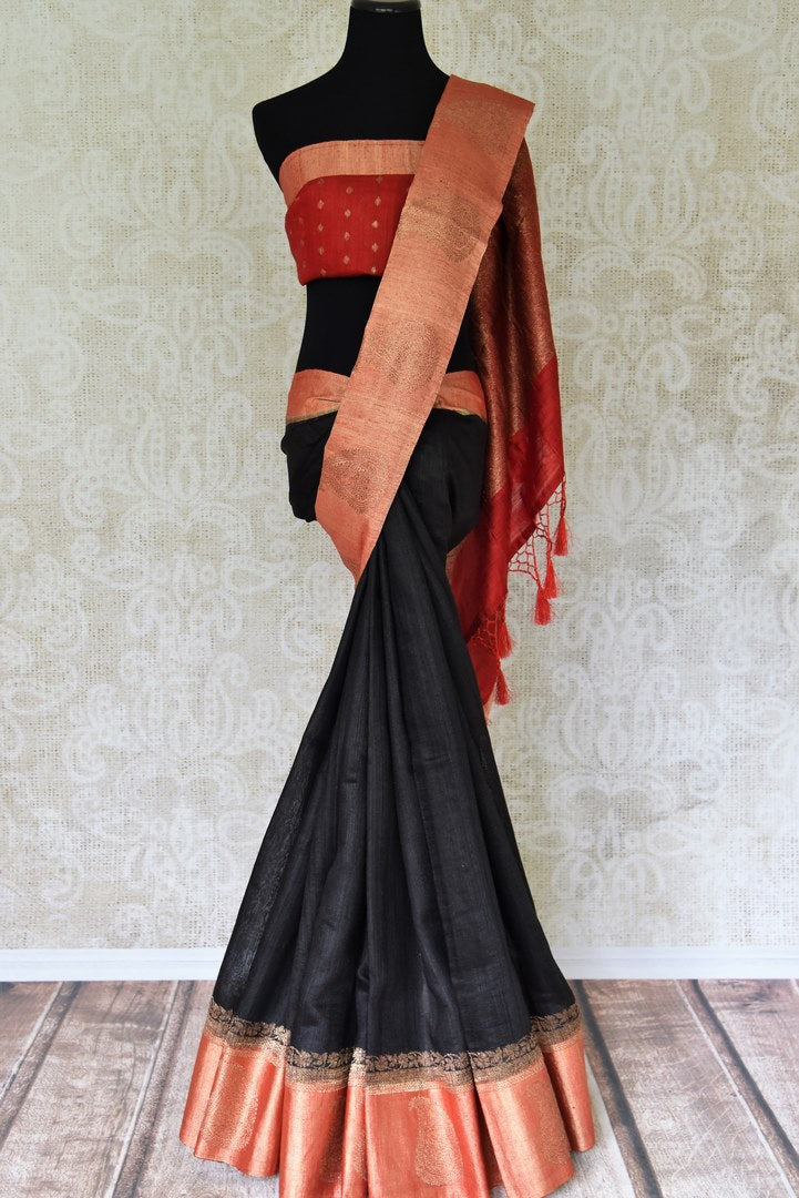 Buy black tussar Benarasi sari online in USA with red zari border and pallu. Make an elegant ethnic fashion statement at parties, weddings and special occasions with a splendid collection of Indian designer sarees, Banarasi saris, handloom saris from Pure Elegance Indian clothing store in USA or shop online.-full view
