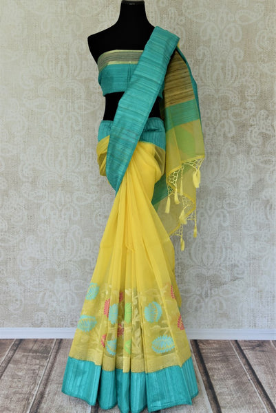 Buy yellow organza Banarasi saree online in USA with colorful floral design. Add brilliance to your Indian ethnic look with traditional Indian Banarasi saris available at Pure Elegance exclusive Indian clothing store in USA or browse through our website and shop online.-full view