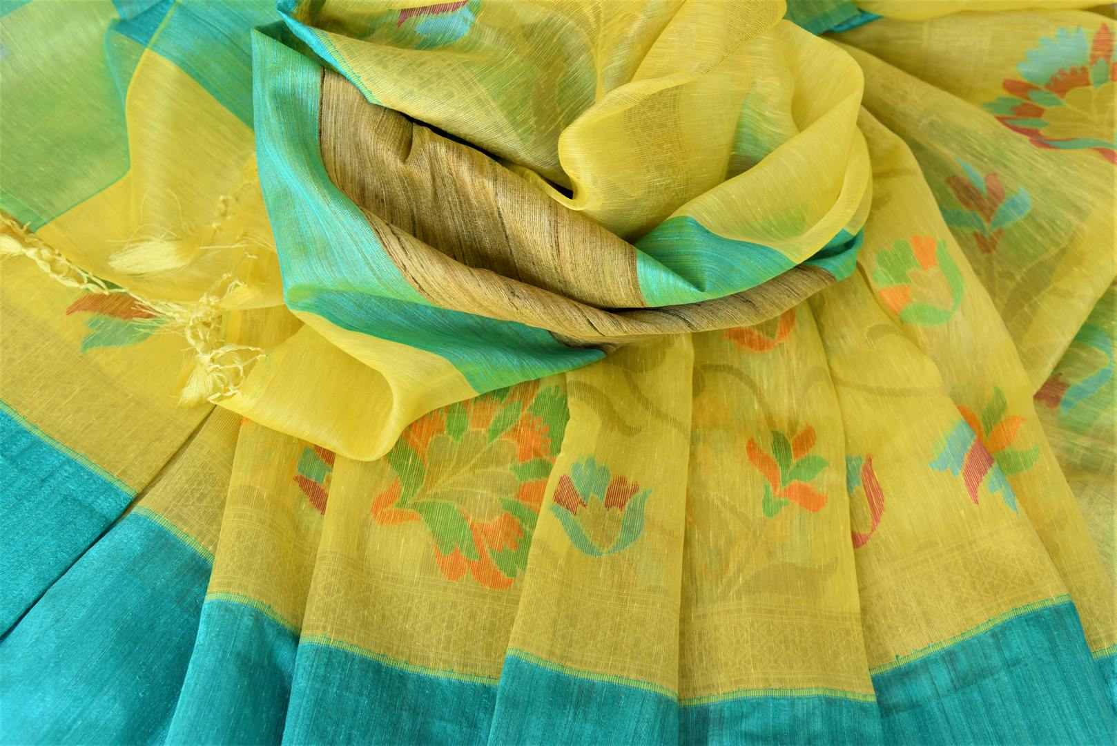 Buy beautiful yellow organza Banarasi saree online in USA with blue border. Add brilliance to your Indian ethnic look with woven Indian Banarasi saris available at Pure Elegance exclusive Indian clothing store in USA or browse through our website and shop online.-details