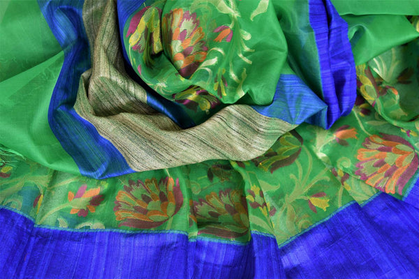Buy beautiful green organza Banarasi saree online in USA with floral jaal border. Add brilliance to your Indian ethnic look with woven Indian Banarasi saris available at Pure Elegance exclusive Indian clothing store in USA or browse through our website and shop online.-details