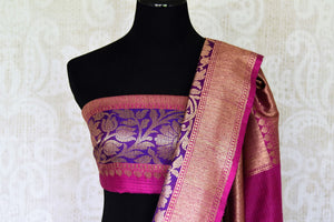 Ace your uber-style in this pink tussar banarsi silk sari. Style it with a designer blouse and intricate buta work all-over the beautiful saree. The rich gold zari border saree that comes with a breath-taking contrast. Shop handloom sarees, banarsi silk sari, chiffon saree online or visit Pure Elegance store, USA. -blouse pallu