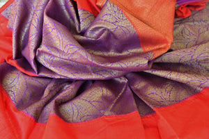 Buy traditional purple tussar Banarasi sari with red border online in USA. If you are heading to a special occasion and all you want is a rich traditional style then look no further than Pure Elegance Indian clothing store in USA. We have an exclusive range of Indian designer sarees, traditional handloom sarees and much....-details