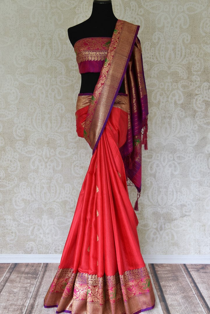 Buy bright pink tussar Banarasi sari with zari border online in USA. Adorn yourself in glorious Indian clothing from Pure Elegance Indian clothing store in USA. We have an exclusive range of Indian designer sarees, traditional handloom sarees, Banarasi sarees to make your Indian look absolutely captivating.-full view