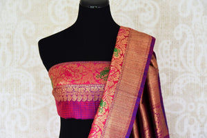 Buy bright pink tussar Banarasi sari with zari border online in USA. Adorn yourself in glorious Indian clothing from Pure Elegance Indian clothing store in USA. We have an exclusive range of Indian designer sarees, traditional handloom sarees, Banarasi sarees to make your Indian look absolutely captivating.-blouse pallu