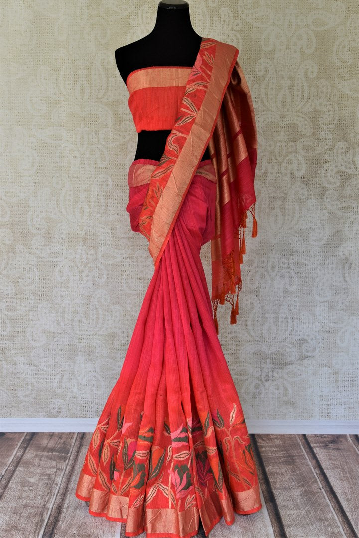 Buy dark pink chanderi Banarasi saree online in USA with floral design. Shine with the beauty of woven Indian Banarasi sarees available at Pure Elegance exclusive Indian clothing store in USA or browse through our website and shop online.-full view