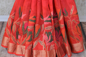 Buy dark pink chanderi Banarasi saree online in USA with floral design. Shine with the beauty of woven Indian Banarasi sarees available at Pure Elegance exclusive Indian clothing store in USA or browse through our website and shop online.-pleats
