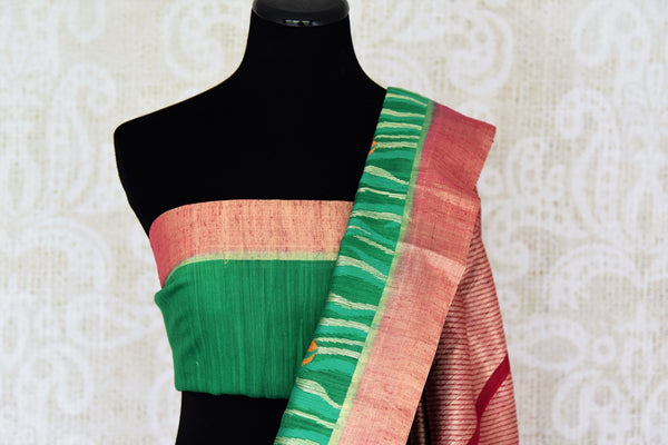 Buy green tussar Benarasi saree online in USA with floral design and zari border. Make an elegant ethnic fashion statement at parties, weddings and special occasions with a splendid collection of Indian designer sarees, Benarasi saris, Indian clothing from Pure Elegance Indian clothing store in USA or shop online.-blouse pallu