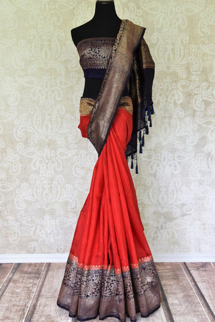 Enchanting hues of red matka banarsi silk are here to melt your heart this wedding season. Drape this sari with a gold and black intricately woven zari border and compliment it with a similar designer blouse. Shop handloom sarees, silk sari, linen saree online or visit Pure Elegance store, USA.-full view