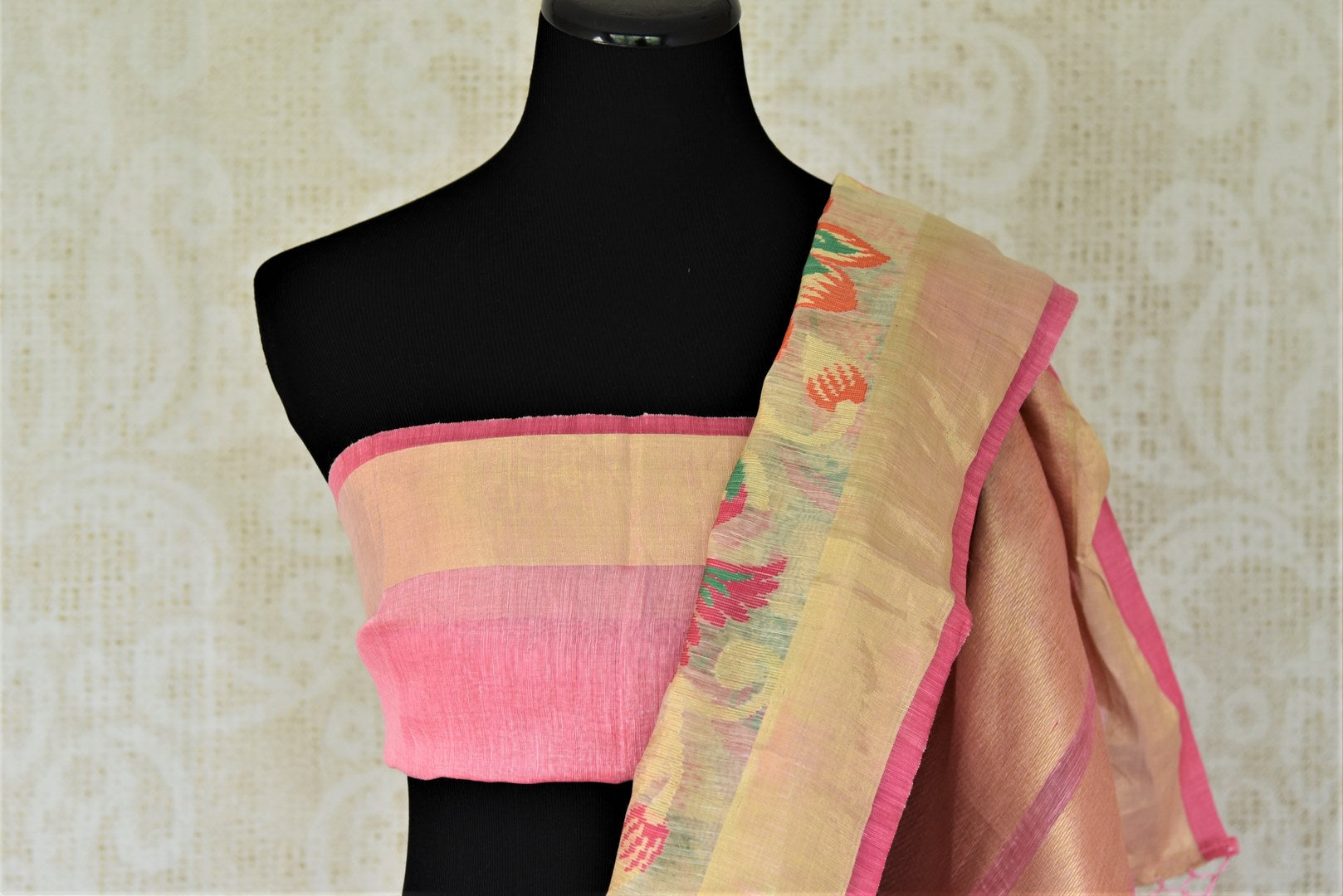 Buy cream chanderi Banarasi saree online in USA with zari border.. Shine with the beauty of woven Indian Banarasi saris available at Pure Elegance exclusive Indian fashion store in USA or browse through our website and shop online.-blouse pallu