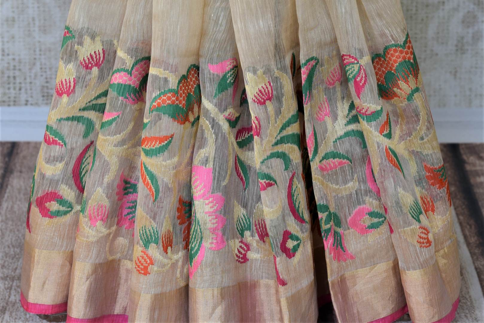 Buy cream chanderi Banarasi saree online in USA with zari border.. Shine with the beauty of woven Indian Banarasi saris available at Pure Elegance exclusive Indian fashion store in USA or browse through our website and shop online.-pleats