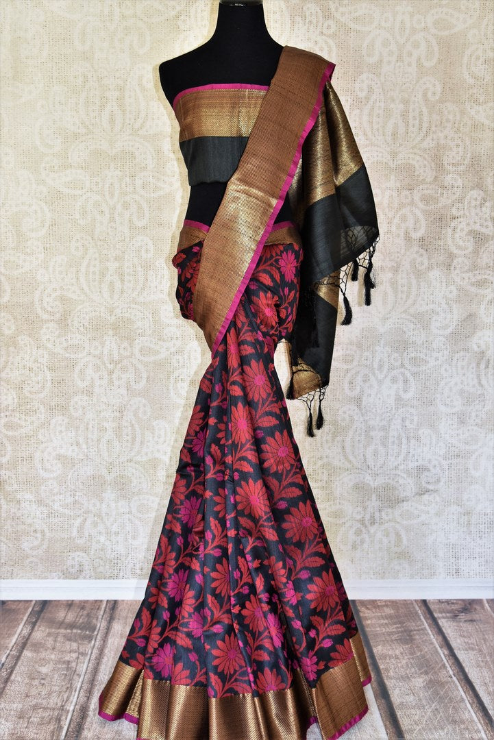 Buy black floral tussar Banarasi sari with zari border online in USA. Adorn yourself in glorious Indian clothing from Pure Elegance Indian clothing store in USA. We have an exclusive range of Indian designer sarees, traditional handloom saris, Banarasi sarees to make your Indian look absolutely captivating.-full view